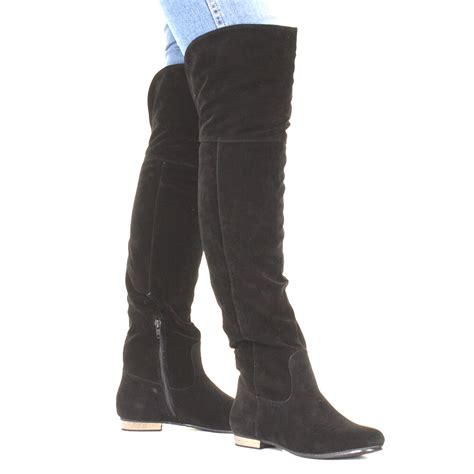 womens knee flat suede look black thigh high