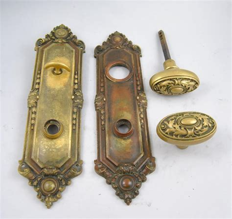 antique set of st julian 900 brass door plates and door