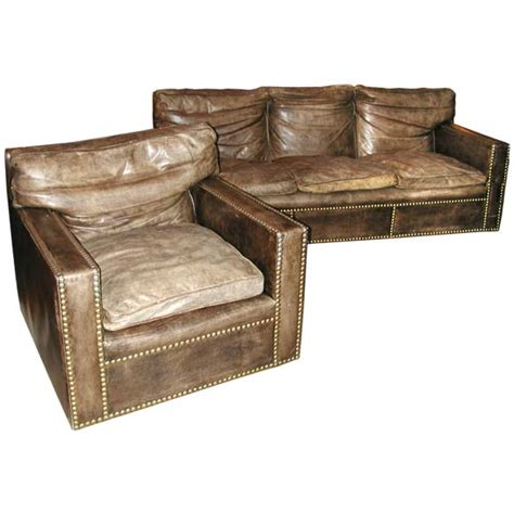 Studded Leather Sofa Studded Distressed Leather Sofa And Arm Chairs At 1stdibs