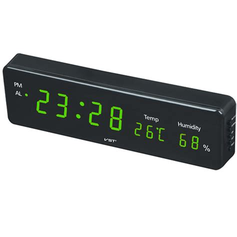12 24 hours wall clock 1 8 inch large number led display temperature humidity table clock eu us