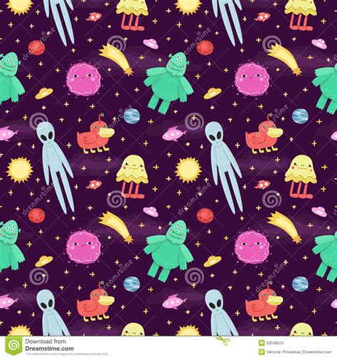 Cute Alien Pattern | seamless vector space pattern with cute and funny cartoon