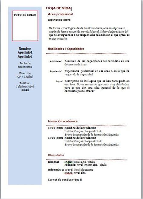 Modelo De Curriculum Hoja De Vida Formato Hoja Vida C 243 Mo Redactar Correctamente La Hoja De Vida Part 2