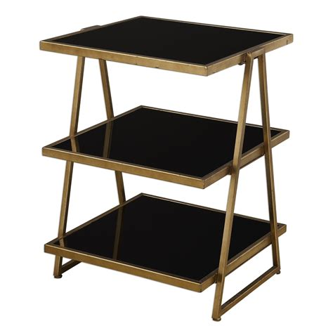 black accent tables uttermost garrity antique gold and black accent table on sale