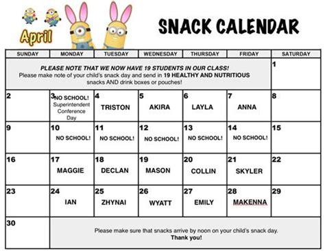 snack calendar template snack schedule related keywords snack schedule