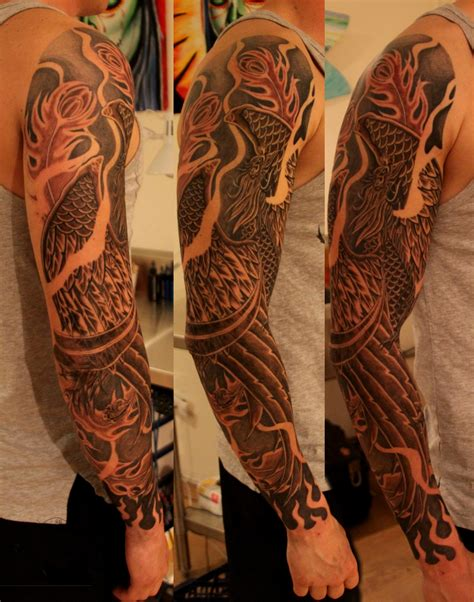 phoenix arm tattoo sleeve joe kintz tattooing