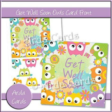Get Well Soon Pop Up Card Template by Get Well Soon Owls Card Front