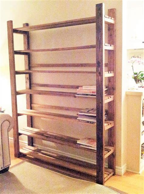 diy rustic pallet bookcase pallet furniture diy