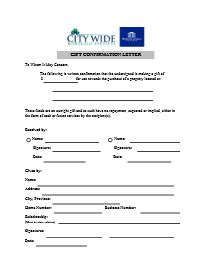 Gift Confirmation Letter City Wide Mortgage Services Downloadable Forms