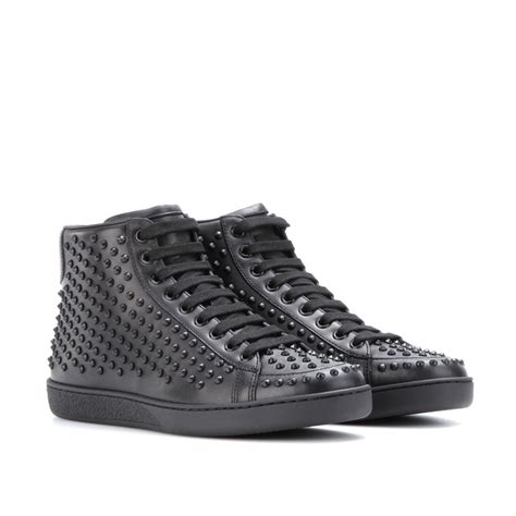 studded sneakers gucci studded leather sneakers in black nero made in