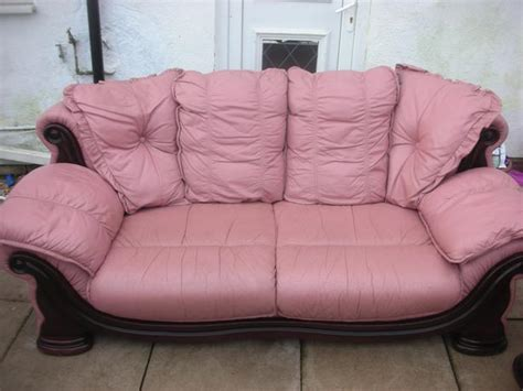 3 1 Pink Leather Sofa For Sale Dudley Sandwell