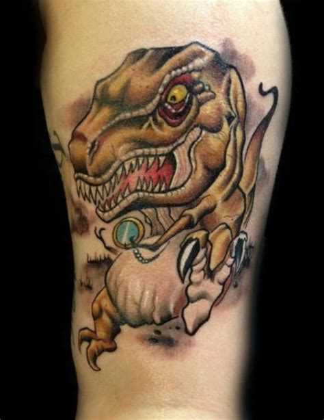 new school dinosaur tattoo tatuaje brazo fantasy dinosaurio por levy hilton