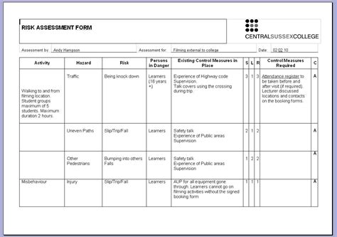 template of risk assessment template exles besttemplates123