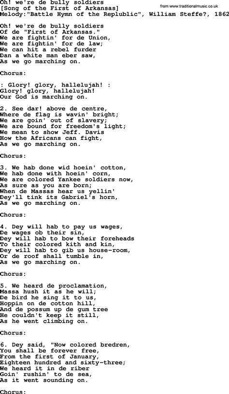 we were soldiers soundtrack lyrics 11 song lyrics old american song lyrics for oh we re de bully