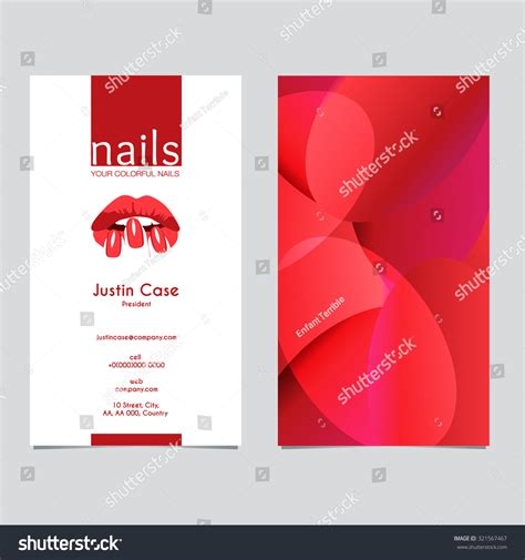 nail business card template womans nails silhouette vector icon stock vector