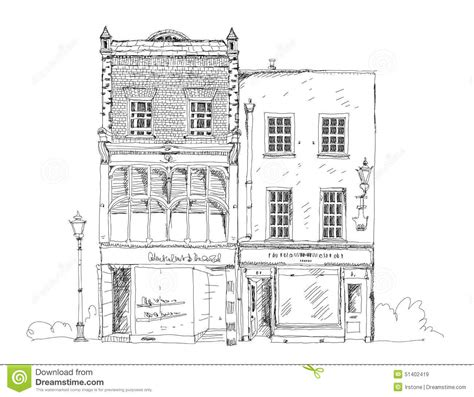 sketchbook shop town house with small shop or business on