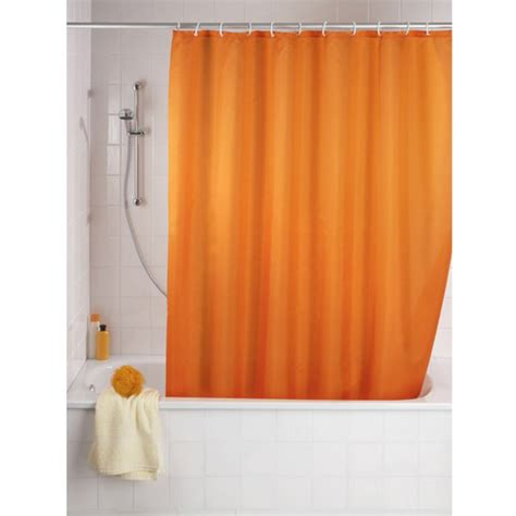 Shower Curtains Orange Wenko Plain Orange Polyester Shower Curtain 1800 X 2000mm 20039100 At Plumbing Uk