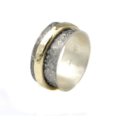 Bicolor Ring by Bicolor Ring Aus Oxidiertem 925 Silber Drehbare