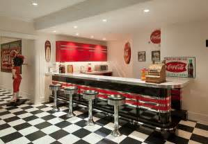Coca Cola Kitchen Curtains Nostalgic 50 S Diner Look For The Bar Area With Vintage Coca Cola Decor And Ads Decoist