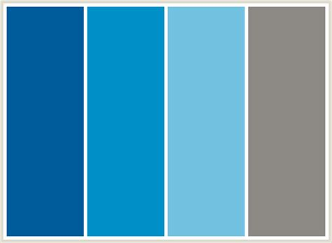 color combination for blue colorcombo121 with hex colors 005b9a 0191c8 74c2e1 8c8984
