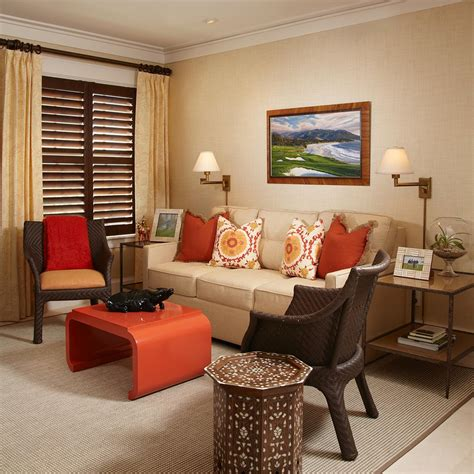 beige and orange living room photo page hgtv