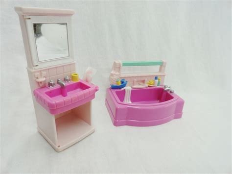 fisher price pink bathtub dollhouse bathroom furniture fp loving family childlrens