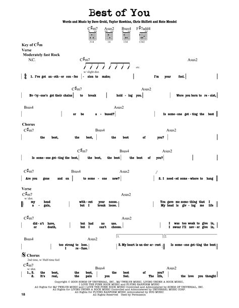 foo fighters the best of you best of you sheet by foo fighters guitar lead sheet