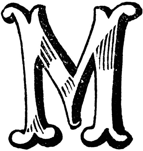 M Drawing Design by Decorative Letter M Clipart Etc