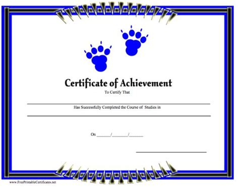 a printable certificate of achievement with blue paw