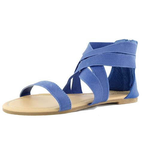 elastic sandals royal blue flats sandals casual criss cross elastic straps