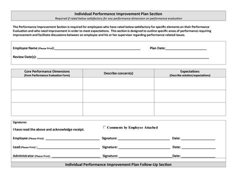 personal improvement plan template free 40 performance improvement plan templates exles
