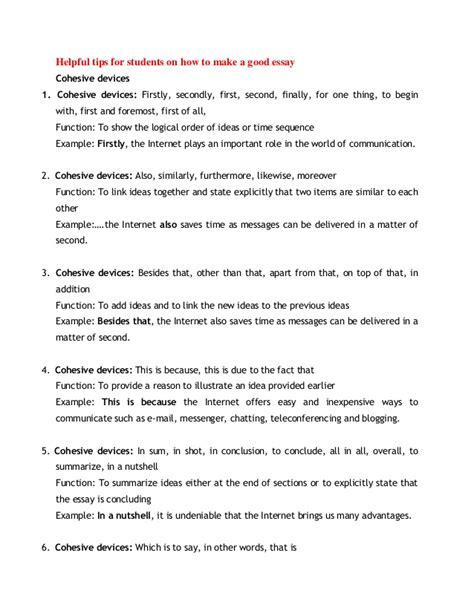 Cohesive Essay by Helpful Tips For Students On How To Make A Essay Cohesive Devices1 Cohesive Devices