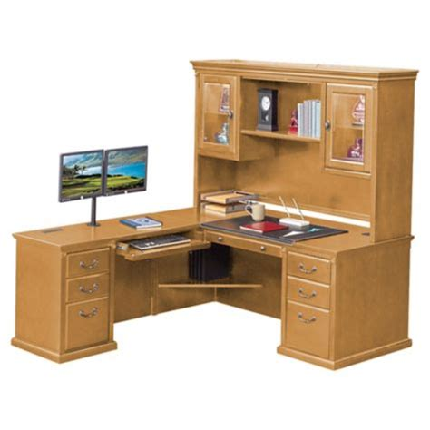 Desk With Return And Hutch Wheat Oak L Desk With Left Return And Hutch 69w Officefurniture