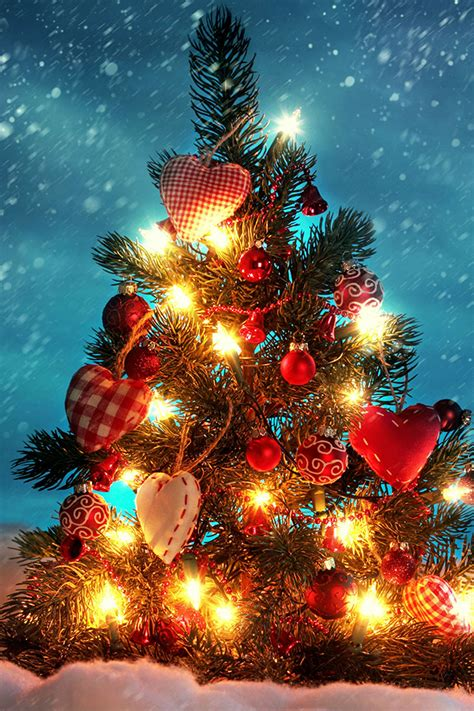 christmas tree with lights iphone wallpaper hd