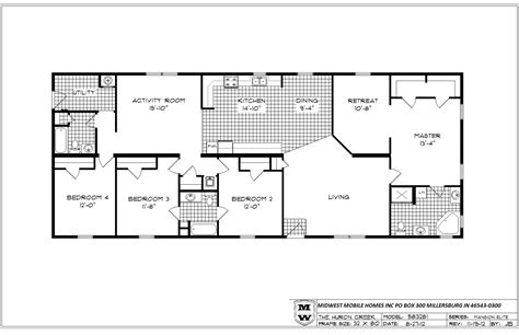 4 Bedroom Single Wide Floor Plans | bedroom bath mobile home also double ideas including 4 wide floor plans pictures hamipara com