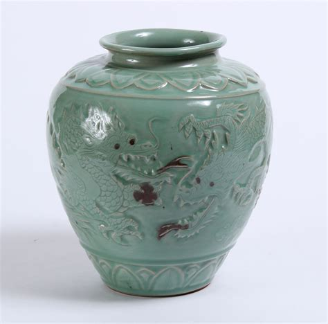 Korean Celadon Vase by Korean Celadon Vase W Oxblood Releif Ebay