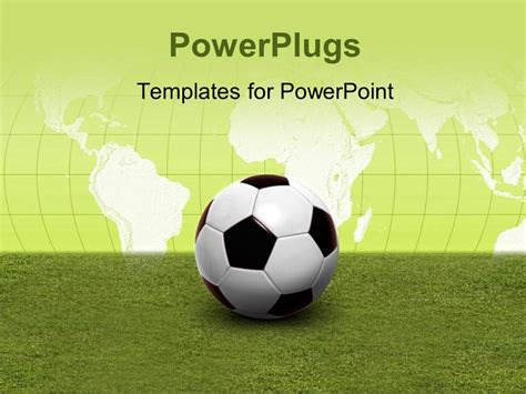 3d soccer pitch powerpoint template powerpoint template soccer on green pitch with world