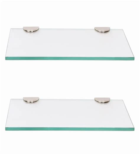 Bathroom Glass Shelves 300mm Regis Multipurpose Wall Glass Shelf Rack Set Of 2