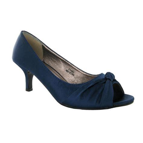 Navy Satin Wedding Shoes by New Navy Satin Wedding Peeptoe Court Shoes Size 3 Ebay