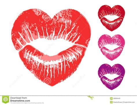 red heart lips vector set stock photos image 36959443