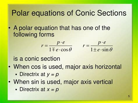 Equations Of Conic Sections ppt conic sections in polar coordinates powerpoint presentation id 478937
