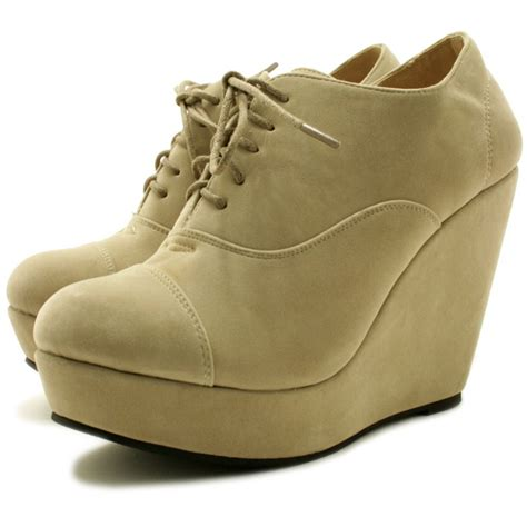 cbell suede style wedge platform ankle lace boots