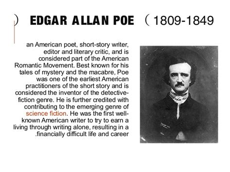 edgar allan poe brief biography edgar allan poe
