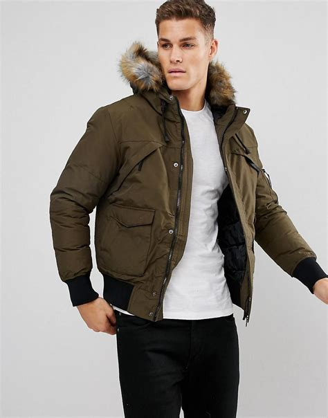 Bershka Jacket Bomber bershka bomber jacket with fur in khaki in