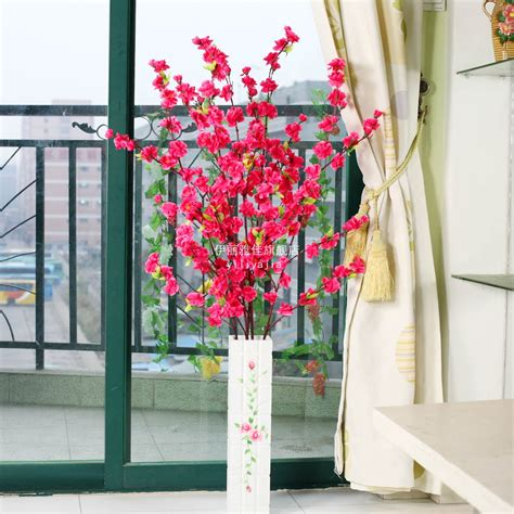 flower decoration in home peach blossom artificial flower living room dining table