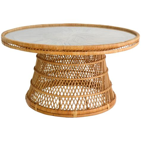 mid century woven rattan coffee table cocktail table for