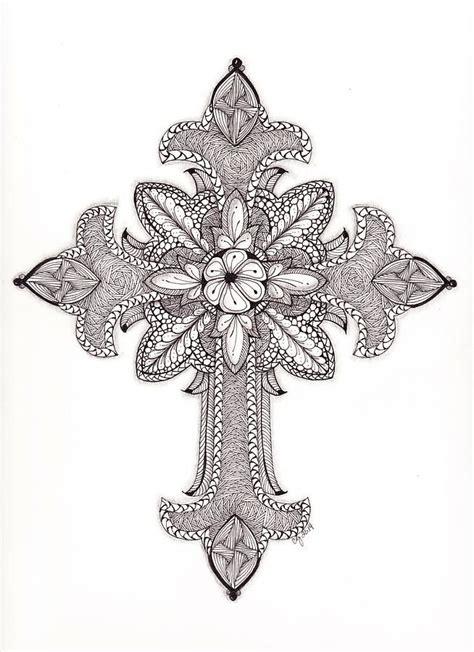 ornate cross tattoos tangled ornate cross drawing coloring aduts