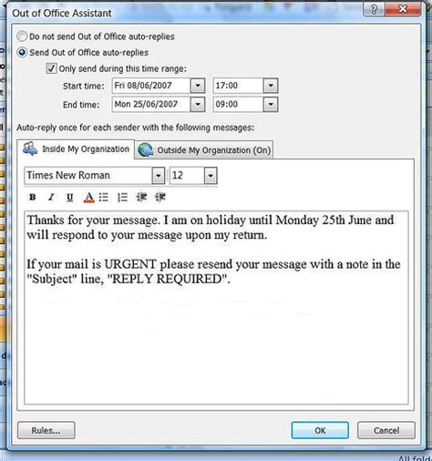 Out Of Office Outlook 2007 by The Out Of Office Feature Is So Much Better In Microsoft