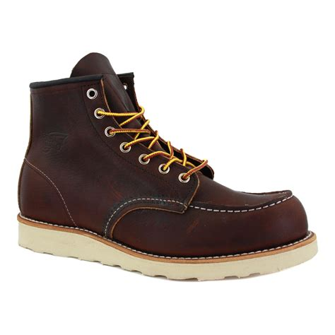 wing moc toe 08138 1 mens laced leather boots brown ebay