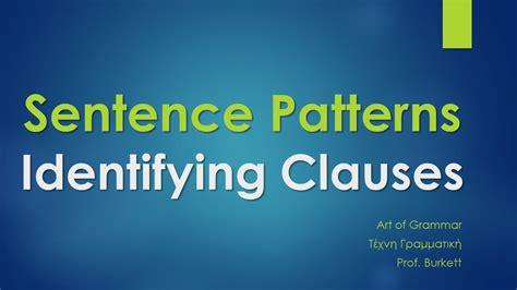sentence pattern identifier sentence patterns identifying clauses youtube