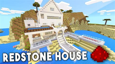 minecraft houses pe mcpe redstone beach house minecraft pe pocket edition